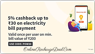 Freecharge Electricity Bill Payment Offer: Get 5% Cashback (upto Rs. 30) on any Electricity Bill Payment using Freecharge. Min transaction is Rs. 200