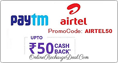 Airtel DTH Recharge Offer by PayTm - Paytm gives nearly 4.3% cashback (upto Rs. 50) on Airtel DTH Recharge of Rs. 100 or more. Valid for all Paytm users